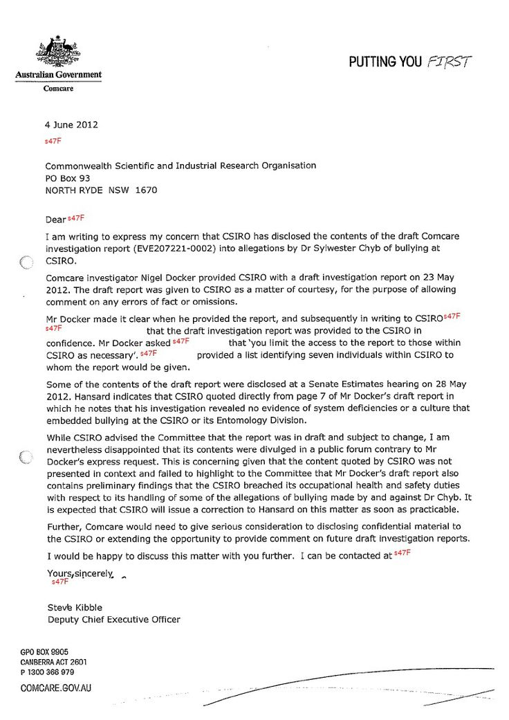 Csiroa Disclosure Confidential Report Senate Estimates Template