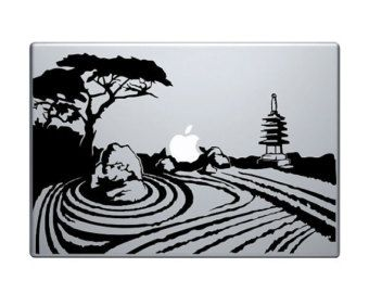 "Zen Garden Vinyl Decal / Sticker to fit Macbook Pro 13"" 15"" 17"" and Air 11"" 13"" - Custom sizes available - die cut japan buddha statue"