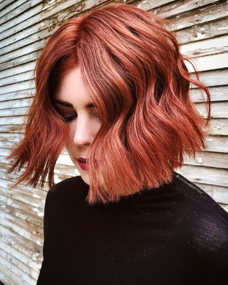 center parted medium red bob 2021 in 2020  bob hairstyles