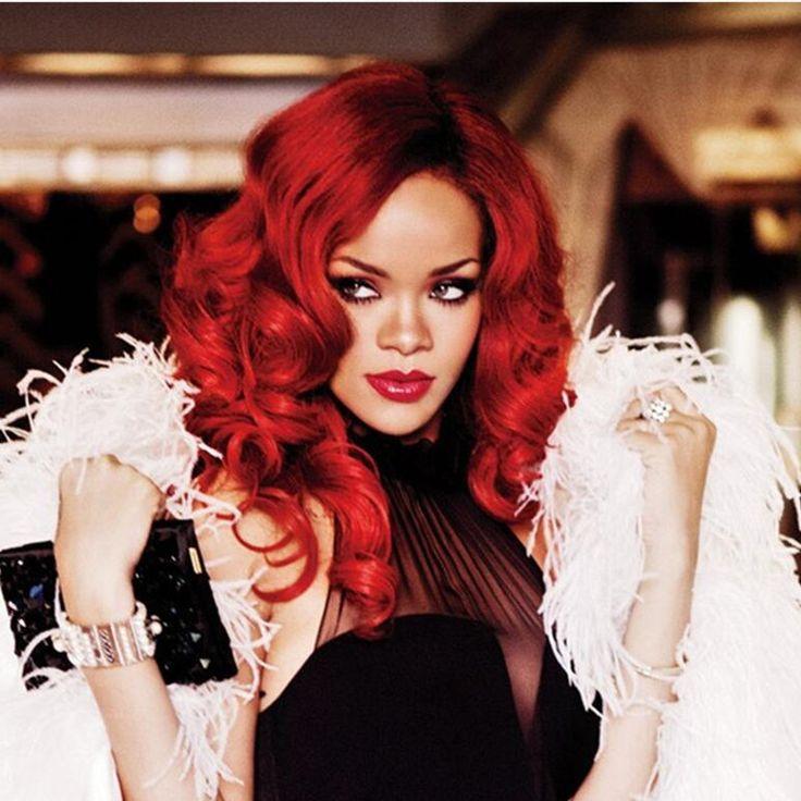 Rihanna Nieuwe Kapsel Lange Krullend Rood Clour Synthetische Volledige Pruik Afro Afro-amerikaanse Pruiken voor Sexy Vrouwen