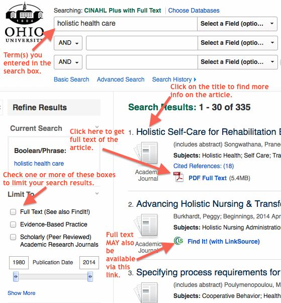 Finding Articles – Online Nursing Programs (RN-BSN, MSN, DNP) – Subject & Course Guides at Ohio University #ohio #u #rn #to #bsn http://oklahoma.nef2.com/finding-articles-online-nursing-programs-rn-bsn-msn-dnp-subject-course-guides-at-ohio-university-ohio-u-rn-to-bsn/  # Online Nursing Programs (RN-BSN, MSN, DNP) – Finding Articles CINAHL (Cumulative Index to Nursing and Allied Health Literature) is the major database for finding articles in nursing and other allied health fields. Start by…