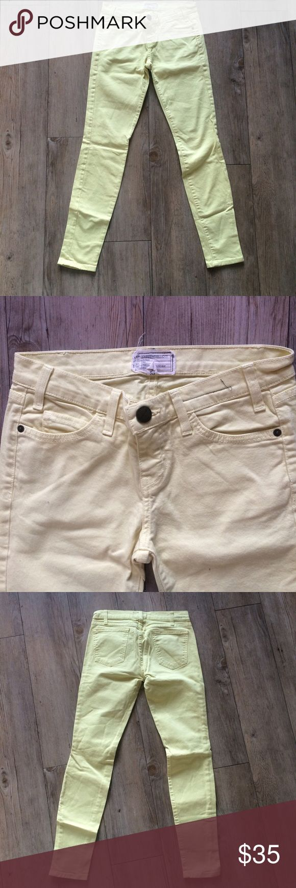 Current/Elliot Yellow Skinny Jeans Pale yellow denim, good condition. Current/Elliott Jeans Skinny