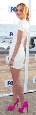 Brian Atwood pink calf hair platform pumps + white dress worn by Jayma Mays