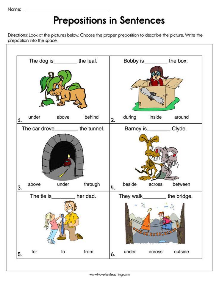 Prepositions in Sentences Worksheet Have fun teaching