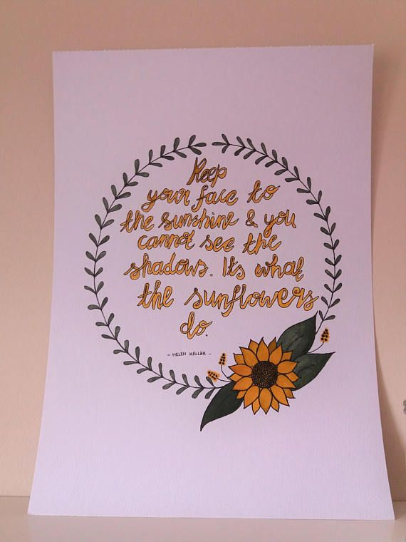 Floral Wreath Quote.Sunflower drawing.Ink Drawing.Original
