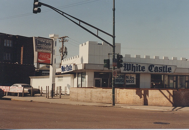 The original 1960's era White Castle restaurant at South Archer and Kedzie Avenues, in Chicago's Brighton Park neighborhood. Seen in March of 1985 prior to demolition. by Eddie from Chicago, via Flickr