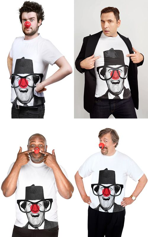 Red Nose Day T shirts at TK Maxx modelled by Jack Whitehall, David Walliams, Lenny Henry and Stephen Fry. 2013