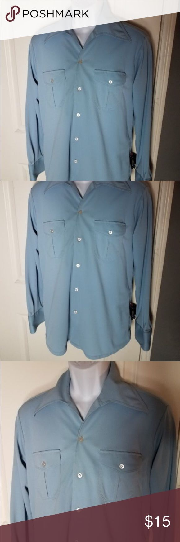Lucien Piccard Men's Size Large  Blue Dress Shirt Length-30.  Chest-21.  Sleeve-25.  Inv-X2 Lucien Piccard Shirts Casual Button Down Shirts