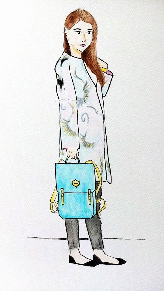 From blog stylishwhiterabbit.com I draw Nicol wearing lovely soft coloured coat. #bloggerdrawing