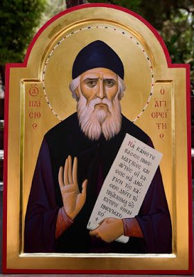 This holy icon of St. Paisios the Athonite, painted by Archimandrite Ambrose Gkorelov, is in the Metropolis of Morphou in Cyprus, and was painted according to the requirements of Metropolitan Neophytos of Morphou.