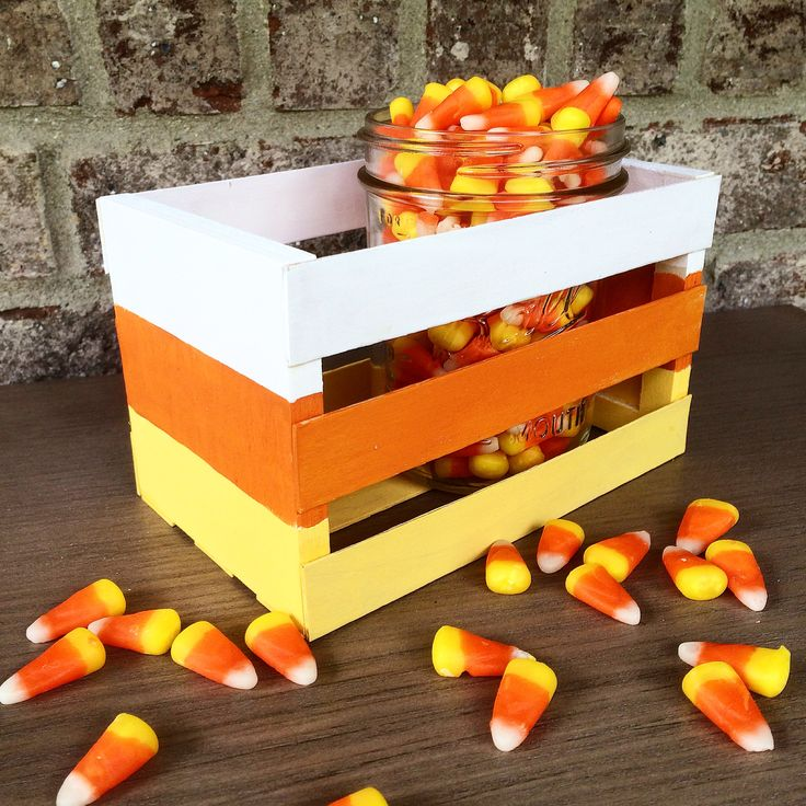 cute craft idea make your own candy corn crate with square craft sticks and wood - Cute Halloween Crafts