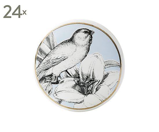 Set de 24 pomos de puerta de cristal y metal Bird II - Ø3,5 cm