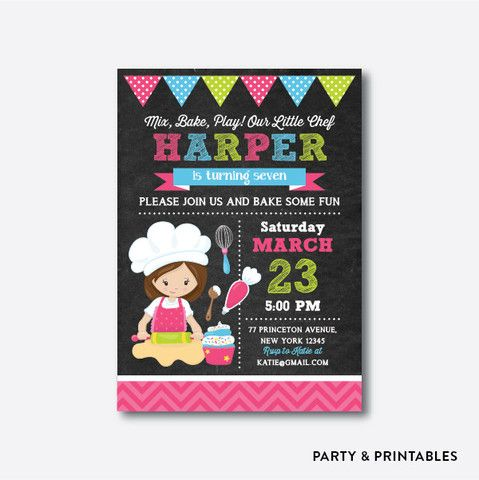16 best Baking Cooking Party Ideas images – Kids Cooking Party Invitations