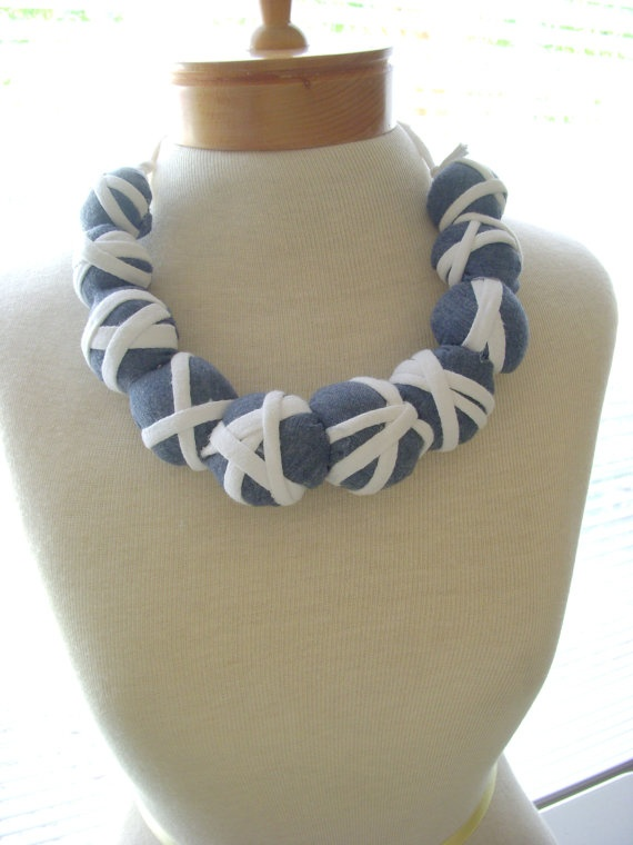 Handmade Blue and white jersey tshirt necklace by Itsewbella, $23.00