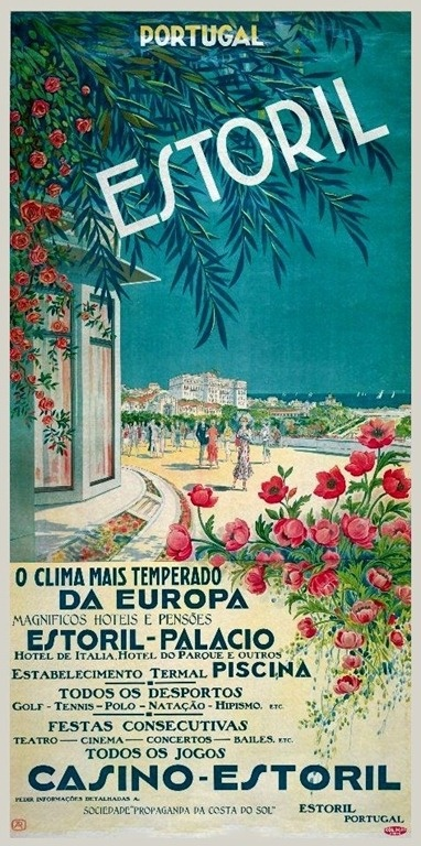 Portuguese Riviera Estoril - Vintage travel beach poster #essenzadiriviera www.varaldocosmetica.it/en