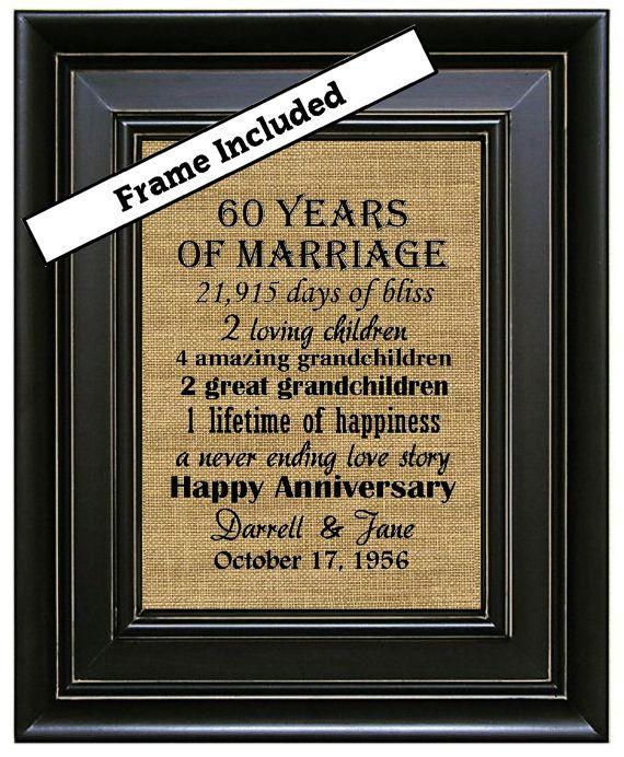 FRAMED 60th Wedding Anniversary Gifts Burlap Art Print Parents Diamond Gift