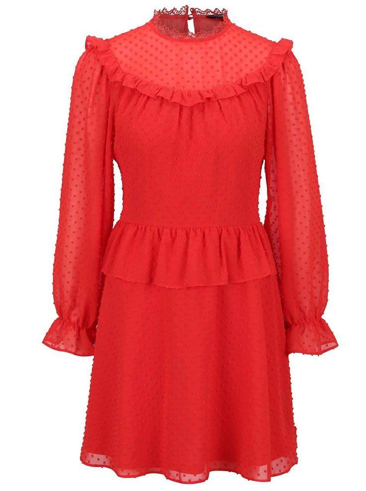 Rochie roșie cu volane Miss Selfridge  - Miss Selfridge