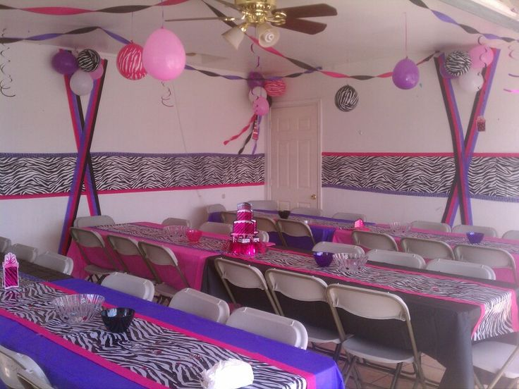 Zebra print pink black purple cheetah party ideas for Animal print party decoration ideas