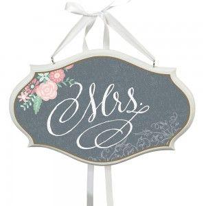 Mr- ja Mrs-kyltit, Floral Chalkboard
