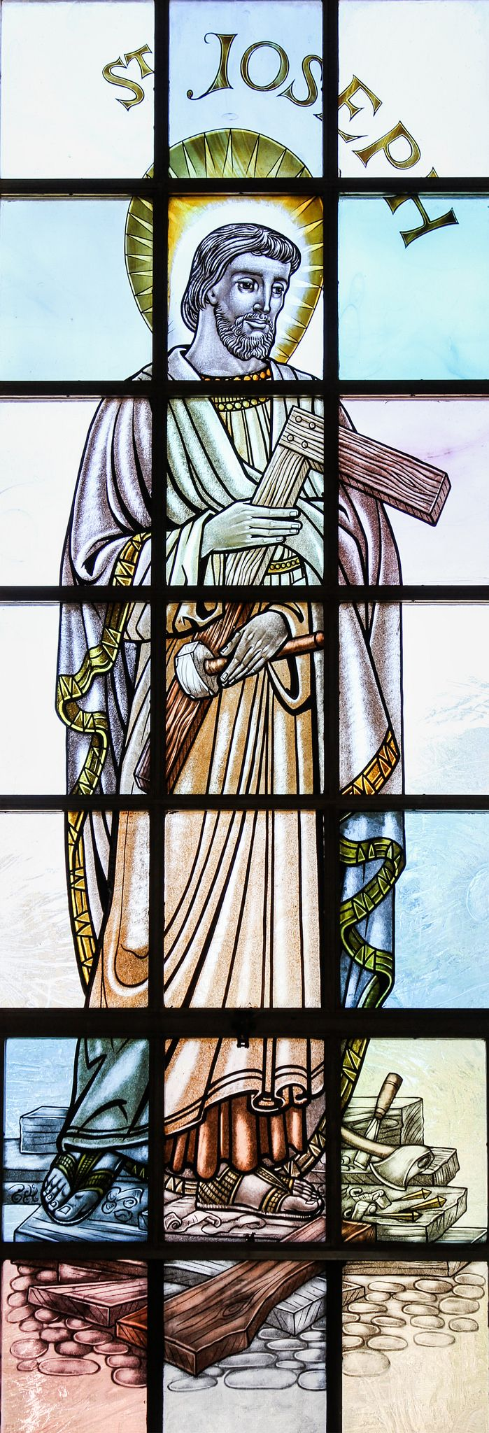 Saint Joseph the Carpenter / San José Carpintero // Stained glass window from the Catholic chapel of Dartmouth College. // photo. Lawrence OP