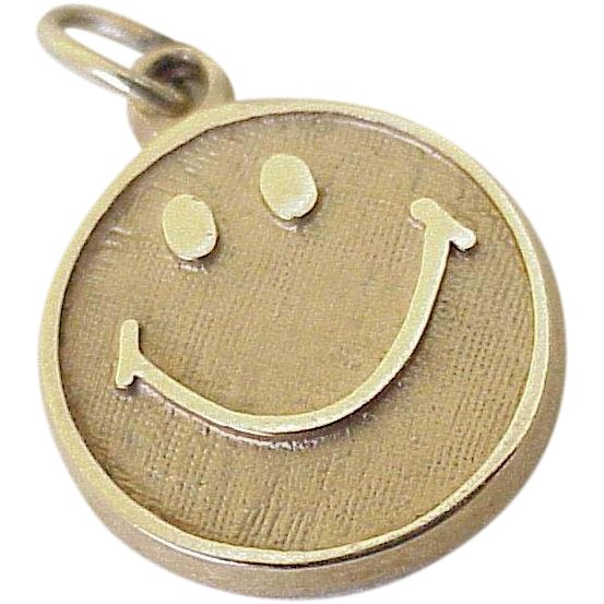 Smiley Face Vintage Charm 10K Gold circa 1960's, The Original Emoji..