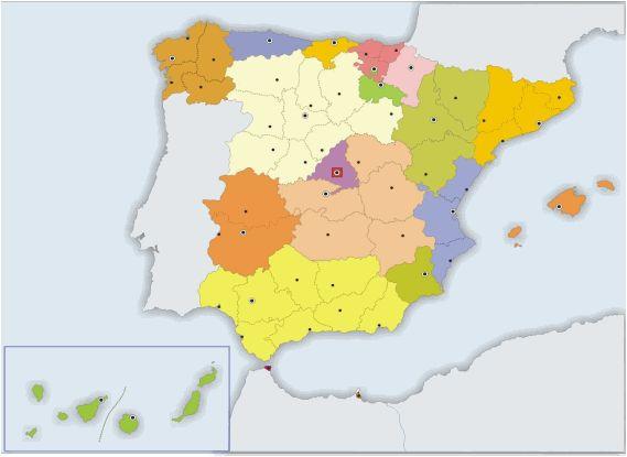 MAPA MUDO PROVINCIAS DE ESPAÑA