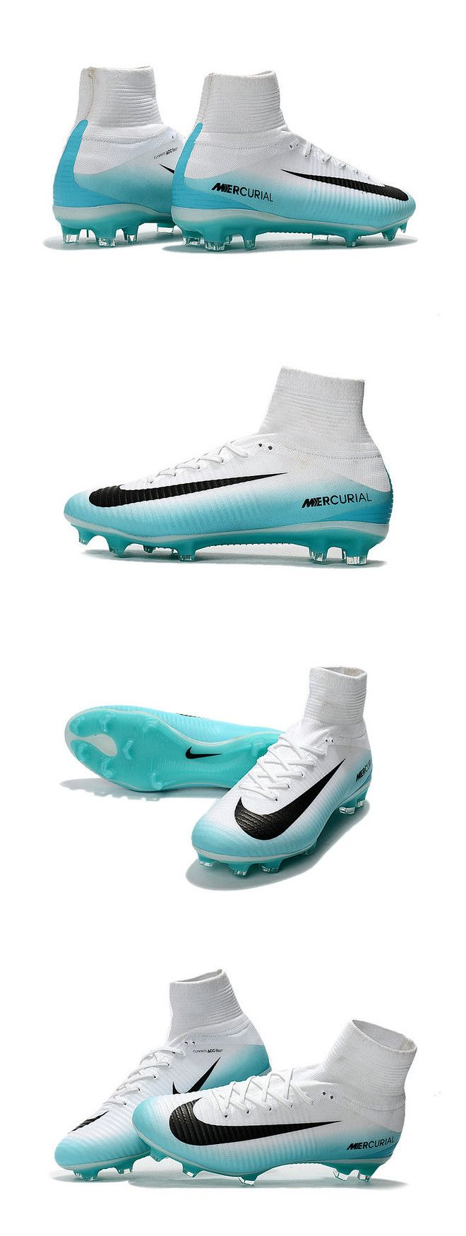 Highly responsive carbon-fiber plate for explosive speed in all directions.White Nike Mercurial Superfly 5 with new chevron bladed studs, you now get better traction for straight line, explosive speed.