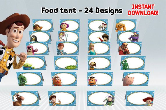Toy Story Food Tent ALL CHARACTERS 24 designs by DigiPartyShoppe
