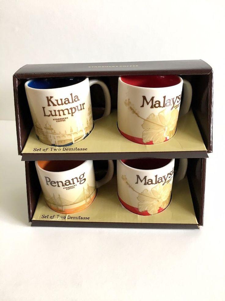 STARBUCKS DEMITASSE Mini Mug 3oz Penang Kuala Lumpur Malaysia City (1 Set 2 mug) #StarbucksCoffeeCompany
