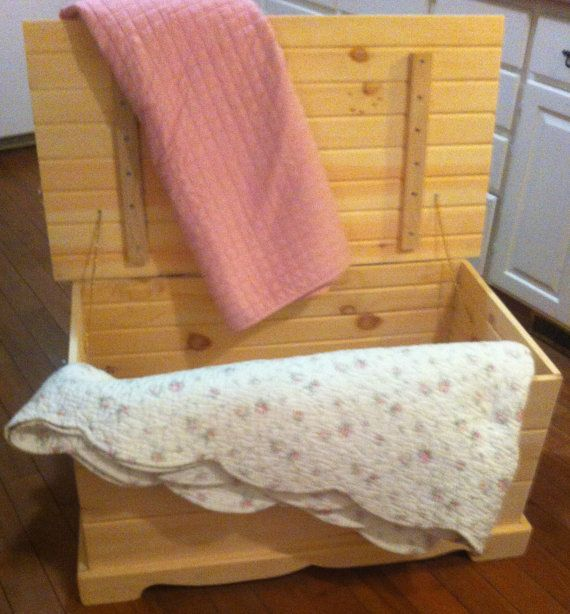 Unfinished Wooden Pine Hope Chest Blanket by CanadianWoodenCrafts