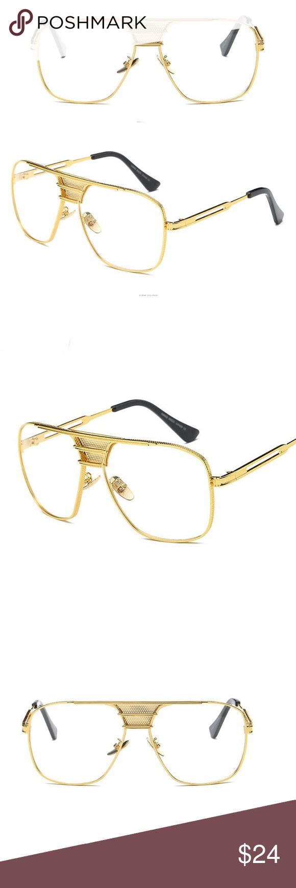Men's Oval Clear Gold Frame Glasses Men's Oval Clear Gold Frame Glasses  Metal: alloy  Clear Lens  Gold Frame. Tsv Jewelers Accessories Hats
