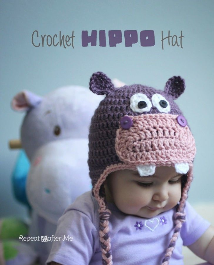 This happy little hippopotamus hat is great for anyone, any age! I used purple and pink for my daughters hat but you could easily use gray or blue or any other color for that matter. Materials: – Worsted weight yarn. I used Lion Brand Vanna's Choice in Dusty Purple and Pink and a little bit of White. …
