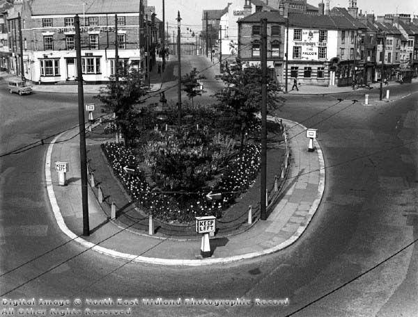 Canning Circus, traffic island and Ilkeston Road (straight ahead) 1959
