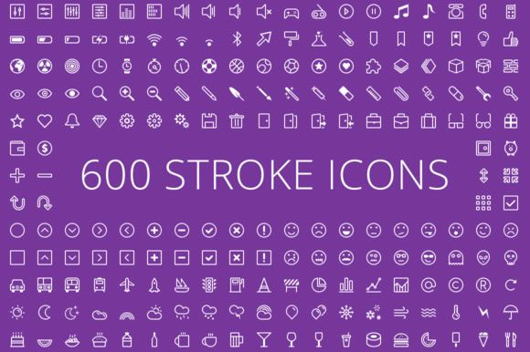 600 Stroke Vector Icons by Zlate