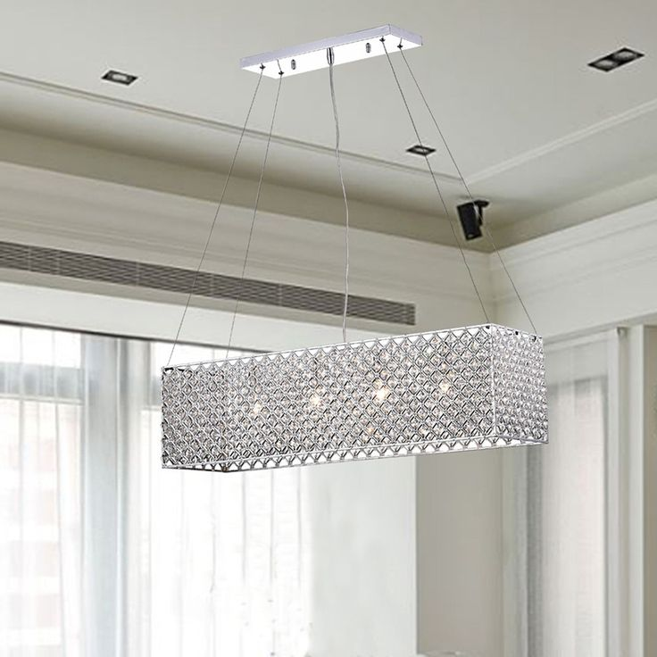 chrome crystal 4 light rectangular adjustable height chandelier by the lighting store