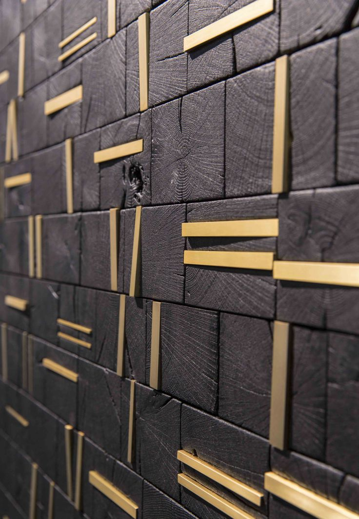 brass inlays make this feature wall pop