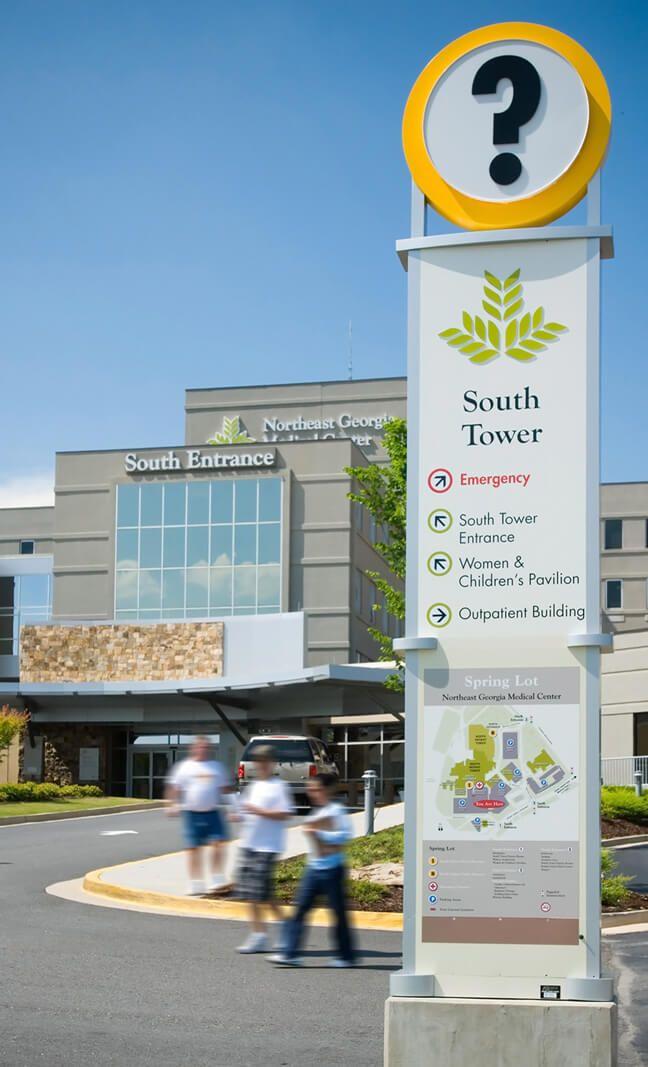 Northeast Georgia Medical Center Pedestrian Information Pylon South Entrance Medical Center Medical Hospital Signage