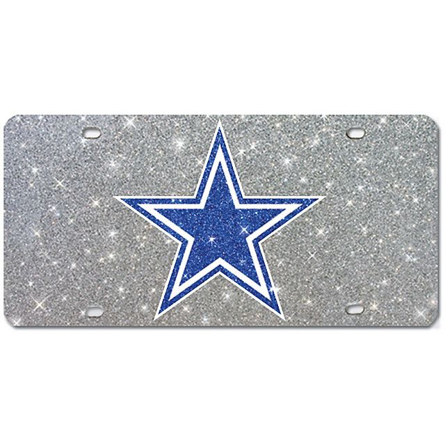 Show off your pride in style with the NFL Dallas Cowboys Logo Silver Glitter License Plate from shop.dallascowboys.com