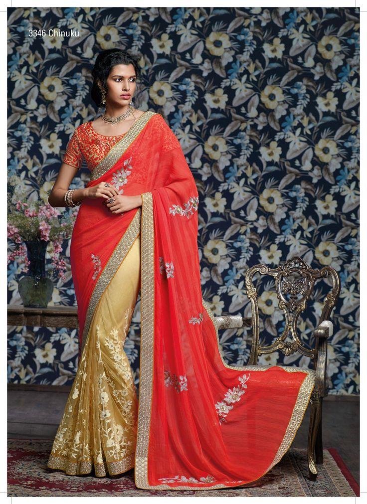 It's really a great pleasure to see this wonderful designer half-half saree, with first rated resham work on net, jari work pallu & heavy sequential jari work border.