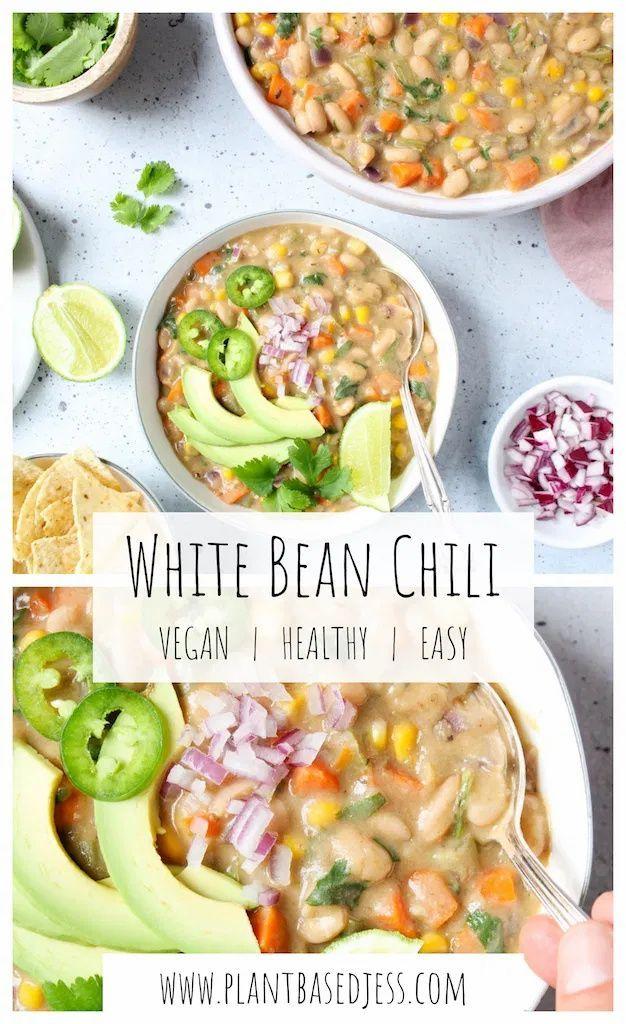 Vegan White Bean Chili Quick And Easy Plant Based Jess Recipe In 2020 White Bean Chili No Bean Chili White Beans