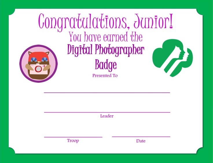 Junior Digital Photographer Badge Certificate