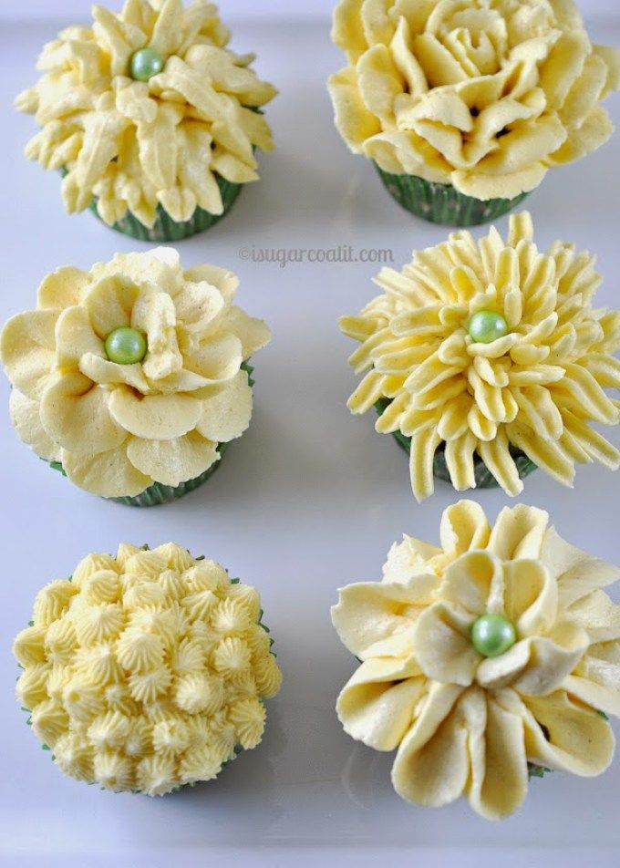 Matcha Passion Fruit Cupcakes with Piped Buttercream Flowers