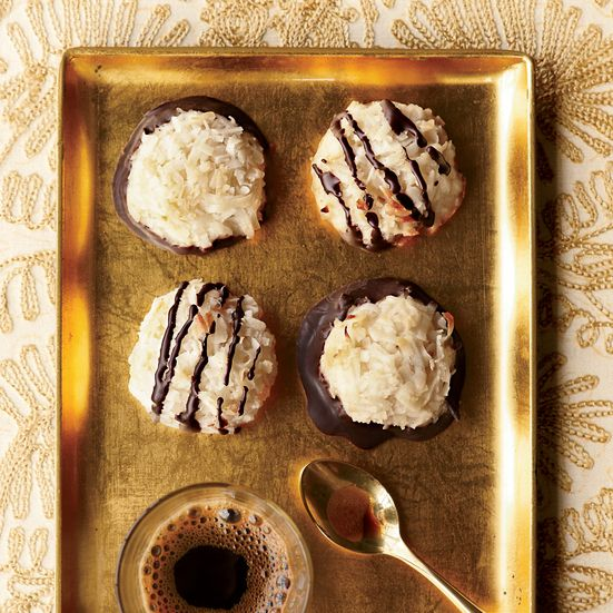 Coconut Macaroons Recipe | These sweet and chewy, five-ingredient macaroons are topped with a delicious bittersweet-chocolate drizzle.