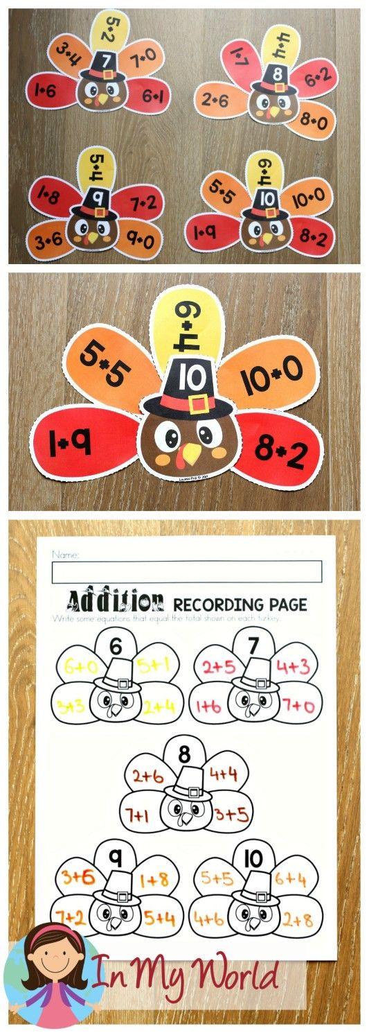 FREE Thanksgiving Math Centers for Kindergarten. Turkey addition.
