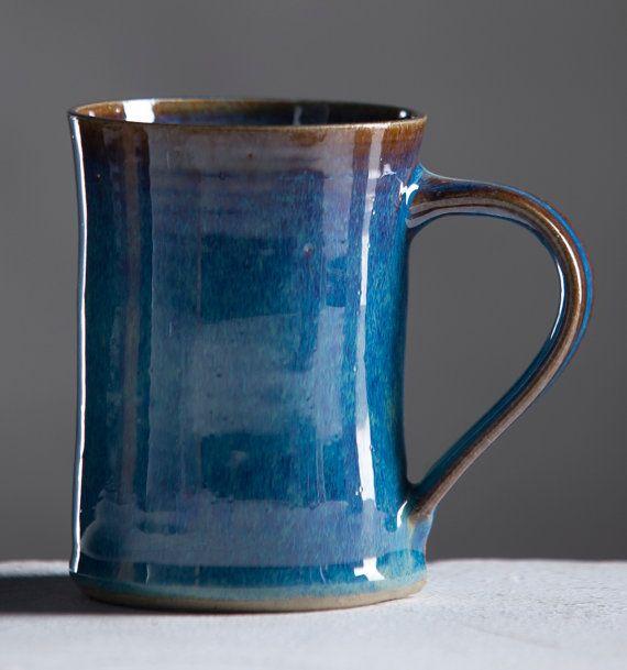 Ceramic Mug Winter Blue Glaze Cup Handmade By