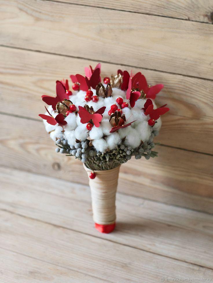 Wedding bouquet | Купить Букет невесты / Свадебный букет из сухоцветов - ярко-красный, красный, букет