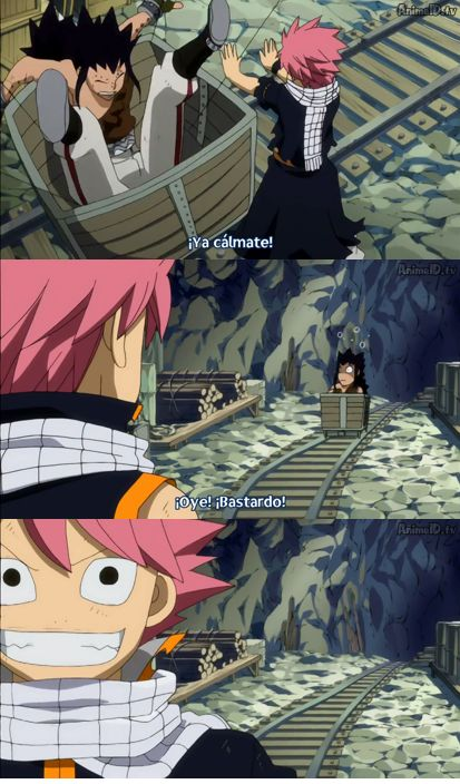 Fairy Tail, Natsu and Gajeel arguing and Natsu is the winner. lol Too funny!!! And they are friends they said. hahahahah Natsu Smile is epic!!!!