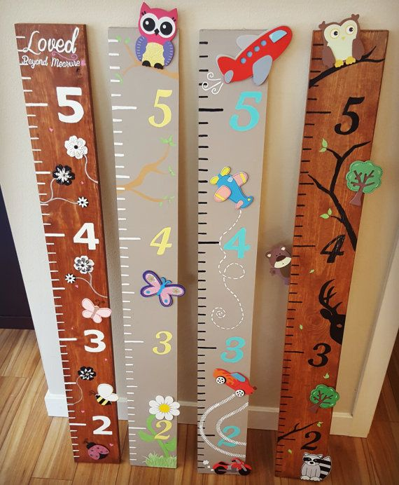 Decorated Wooden Growth Chart by CurlsNBoys on Etsy                                                                                                                                                                                 More