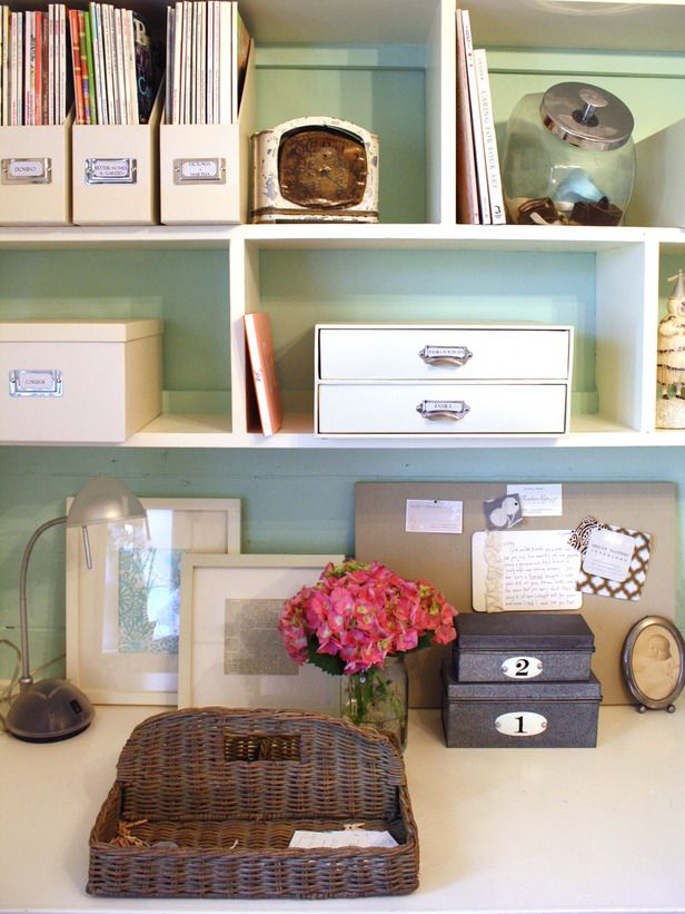 How to Clear Paper Clutter : Decorating : Home & Garden Television: Paper Clutter, Desks Organizations, Small Offices, Organizations Home, Offices Area, Offices Ideas, Organized Home Offices, Offices Organizations, Homes