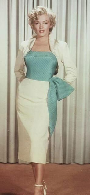 Marilyn Monroe. Love that outfit! vintage fashion style color photo print ad movie star strapless sheath wiggle dress white skirt blue bustier top side bow sash white jacket bolero short cropped 50s